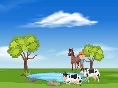 scene with horses and cows illustration