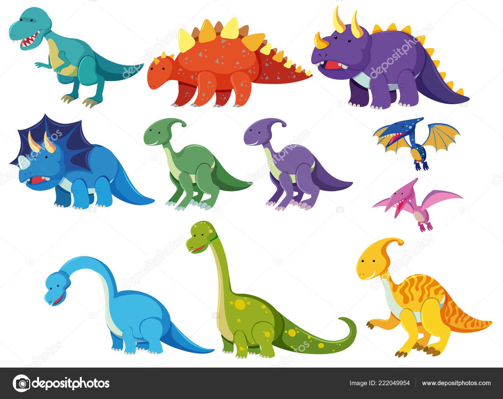 Dibujos De Dinosaurios: Conjunto Ilustración Dinosaurios Dibujos Animados