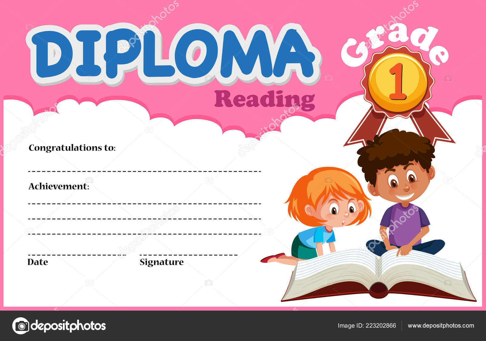 Reading Deiploma Certificate Template Illustration Stock Vector