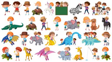 Set of animal and children