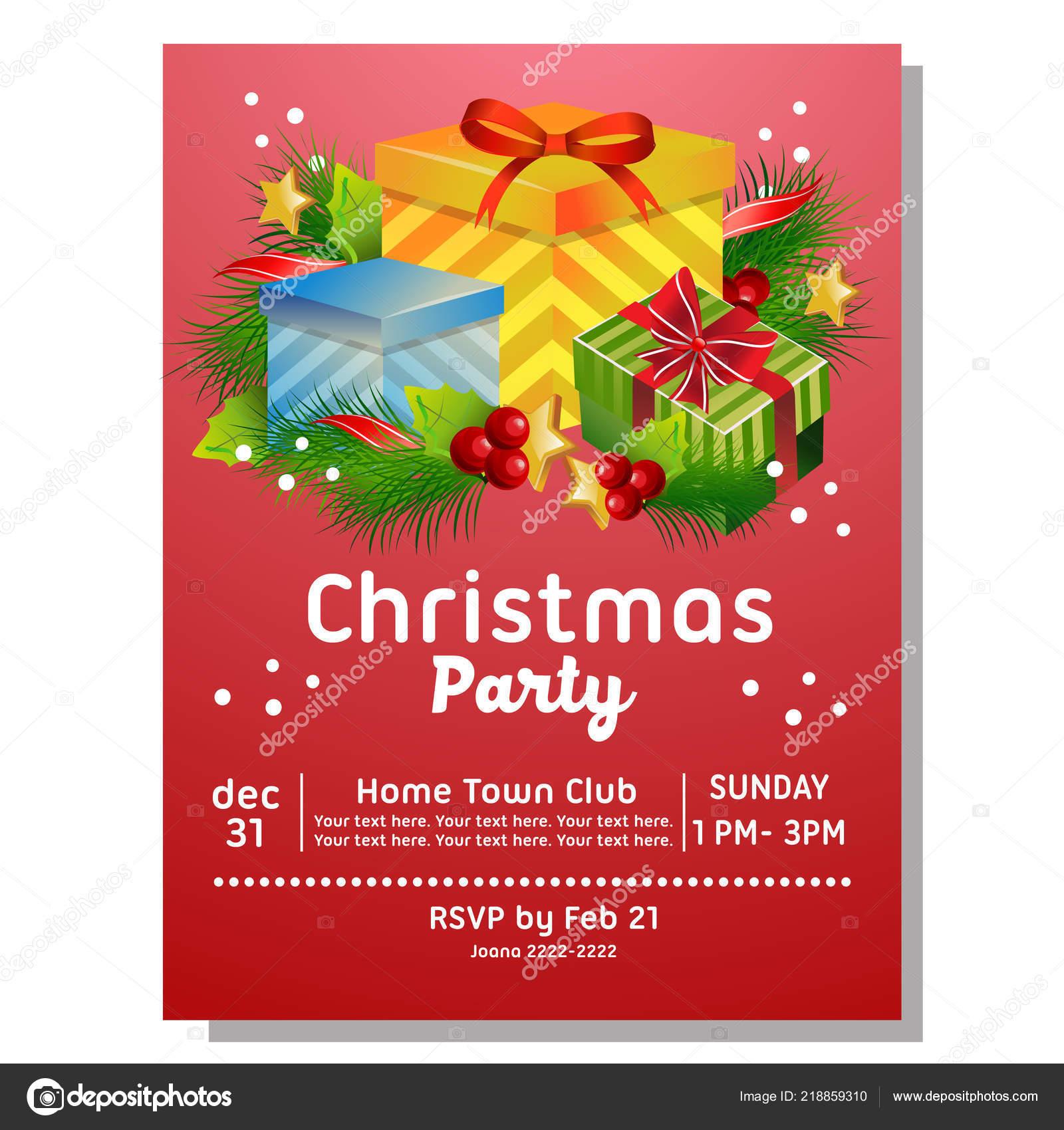 Tarjeta Invitación Fiesta Navidad Con Caja Regalo Vector