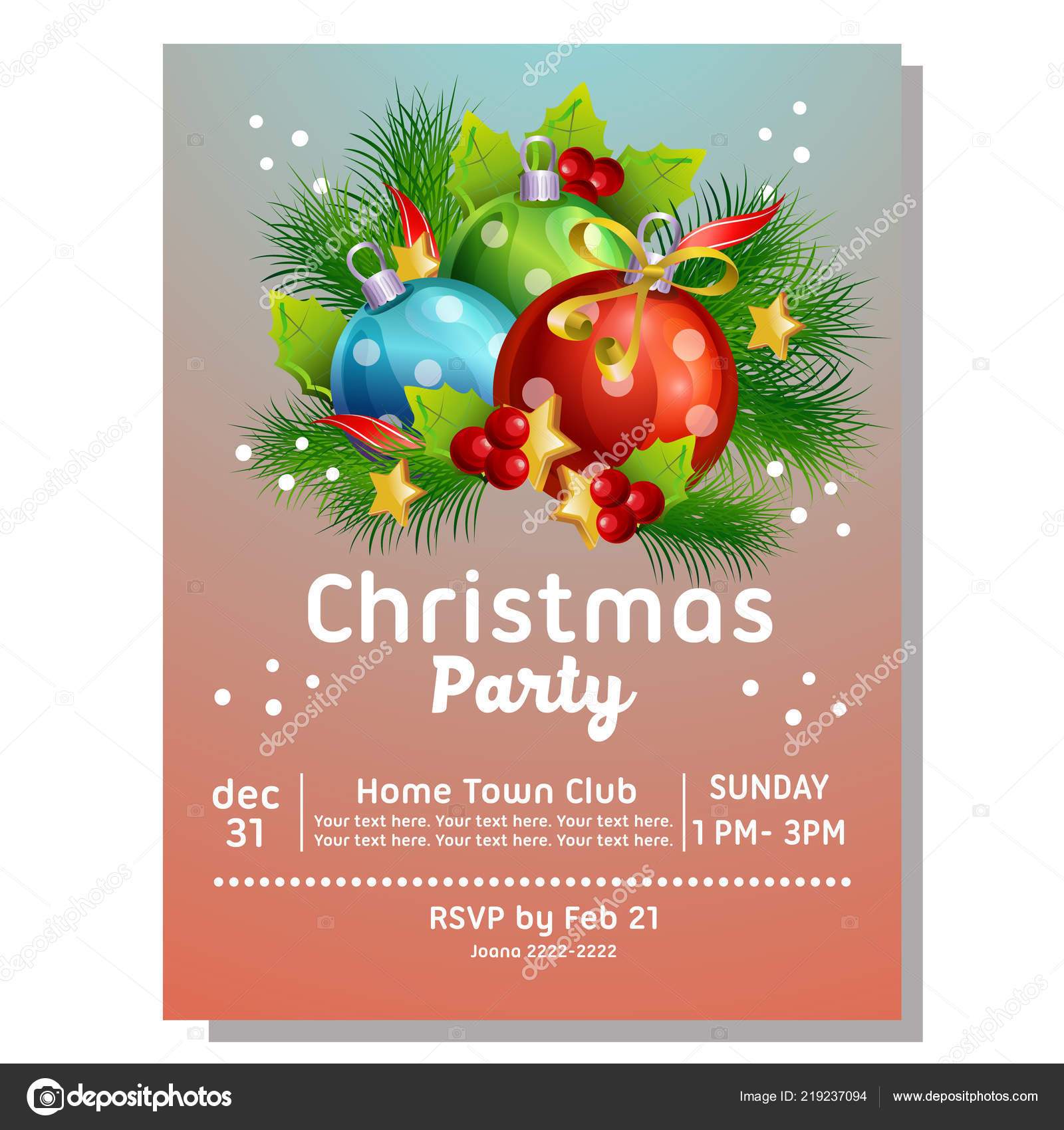 Christmas Party Invitation Card Light Ball — Stock Vector © oncombuntung  #219237094