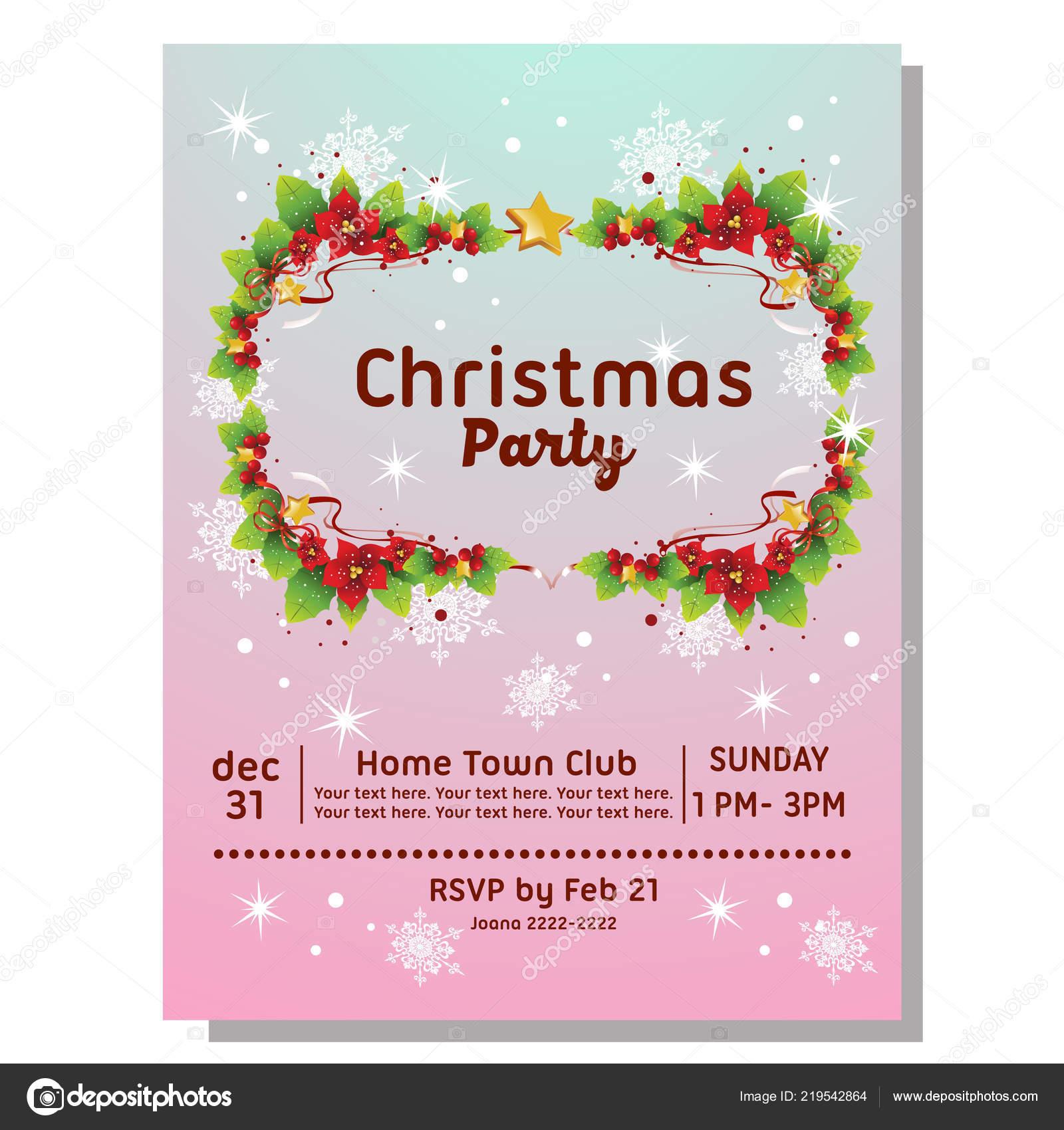 Tarjeta Invitación Fiesta Navidad Con Frontera Flor Pascua