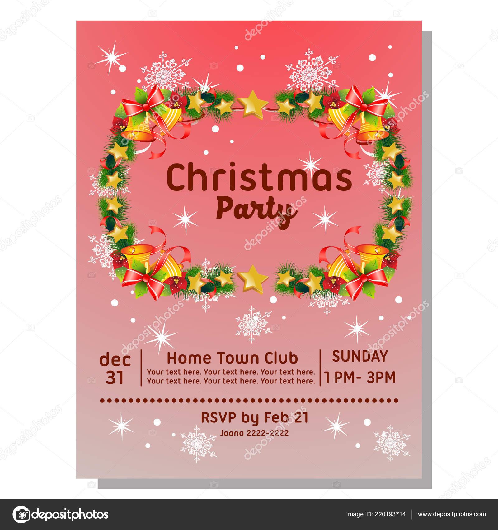 Tarjeta Invitación Fiesta Navidad Con Frontera Bell Vector