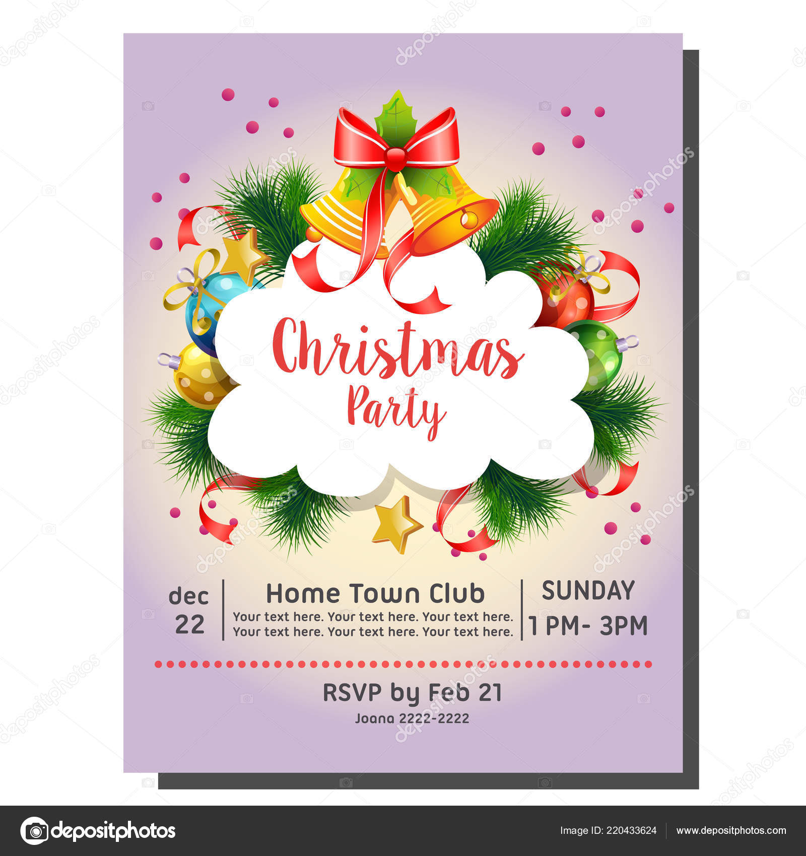 Christmas Party Invitation Card Bell Decoration Stock