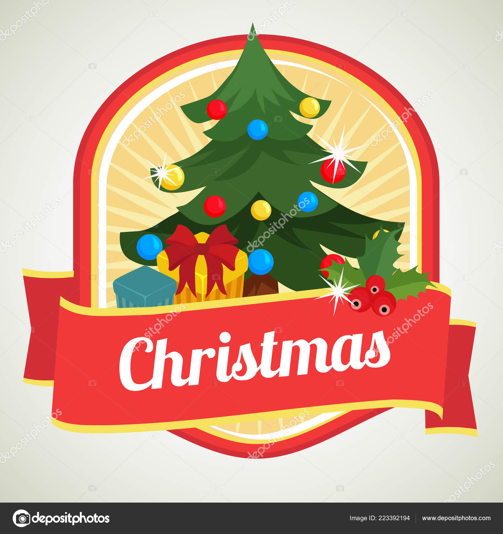 Christmas Badge Christmas Tree — Stock Vector © on buntung