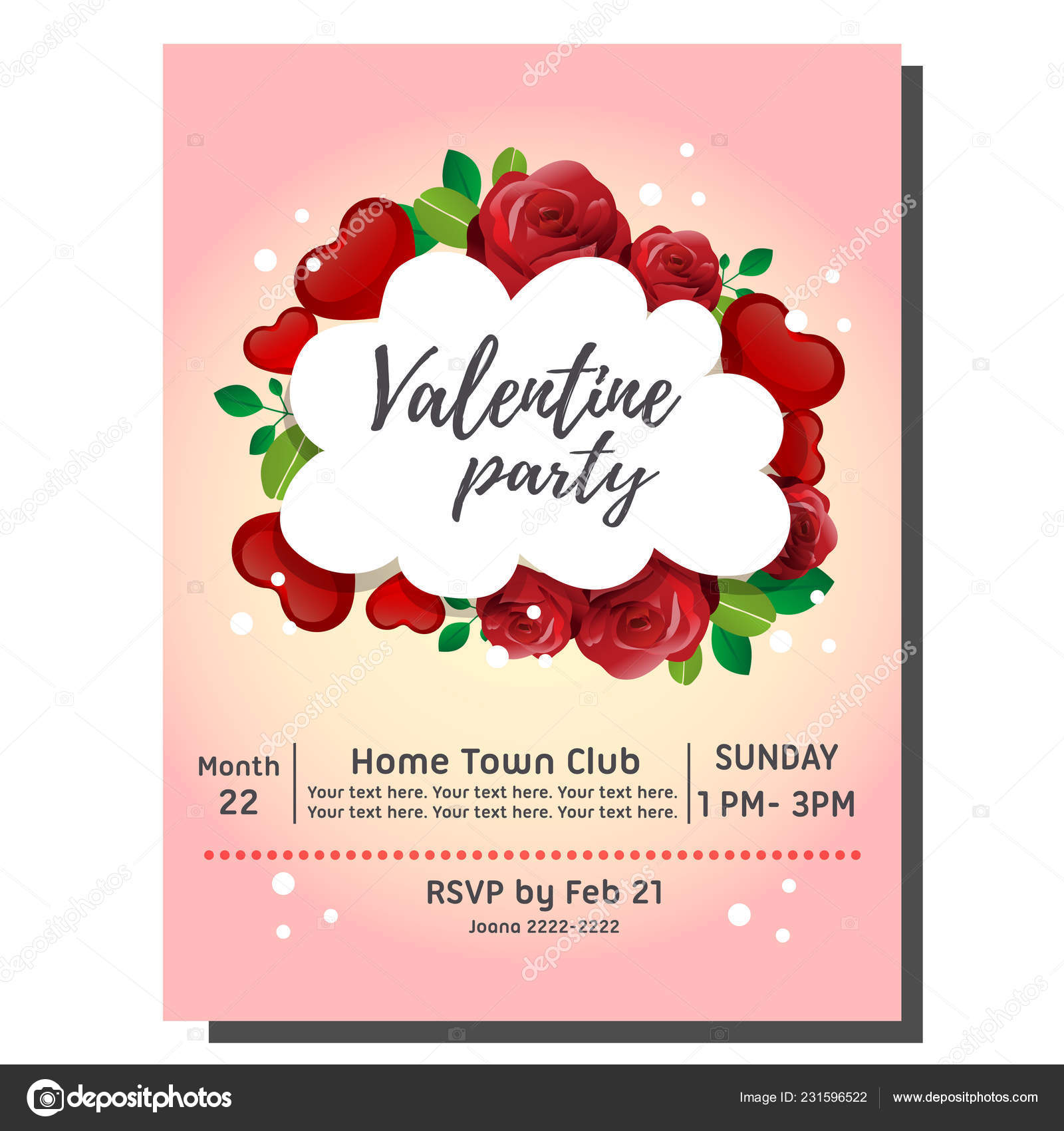 Valentine Party Invitation Card Red Rose Stock Vector