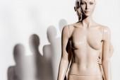 meztelen kopasz mannequins a sorban, és a fehér shadows