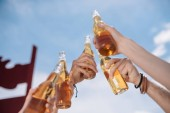 Fotografie cropped shot of young people clinking beer bottles outdoors