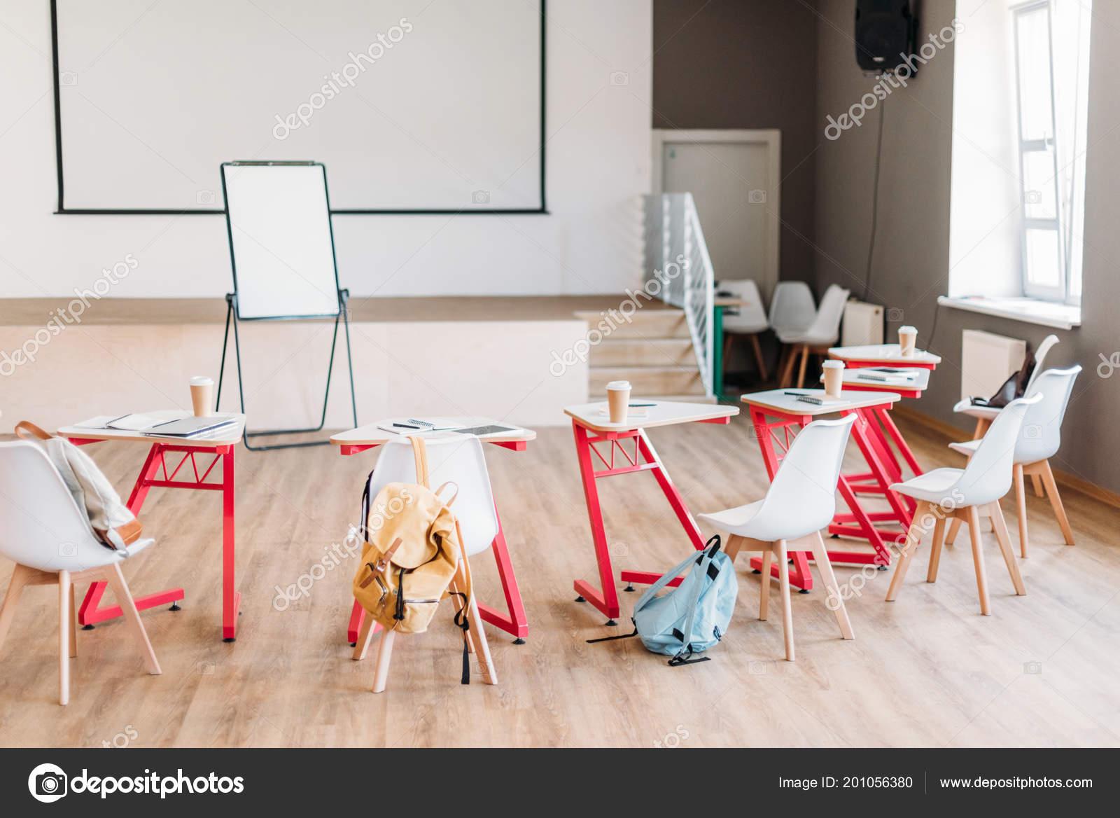 Empty College Classroom Desks Backpacks Students Stock Photo
