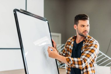 handsome young teacher pointing at blank whiteboard
