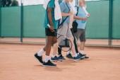 részleges kilátás nyílik a multikulturális idős férfi tenisz felszerelés séta a bíróság