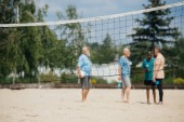 Fotografie selective focus of net and interracial old men with volleyball ball on sandy beach