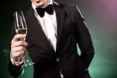 cropped shot of young man in tuxedo holding champagne glass