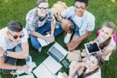 magas, szög, Kilátás boldog többnemzetiségű tizenéves diák tanul könyvek és digitális berendezés-ban park