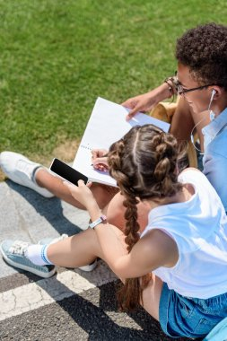 high angle view of multiethnic teenage boy and girl using smartphone and studying together in park