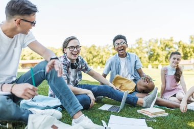 happy multiethnic teenagers sitting and laughing while studying together in park