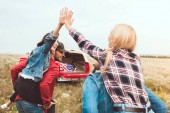 rear view of young women piggybacking on boyfriends and giving high five in flower field