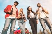 Ansicht von unten der Gruppe von fröhlichen jungen Menschen mit Bierflaschen und Gitarre auf Feld
