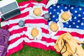 partial view of man lying near american flag with laptop, burgers and coffee to go on green grass