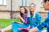 mnohonárodnostní studenti s notebooky sedí na zelené trávě v parku