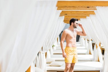 handsome shirtless man in sunglasses standing near sun loungers and looking away