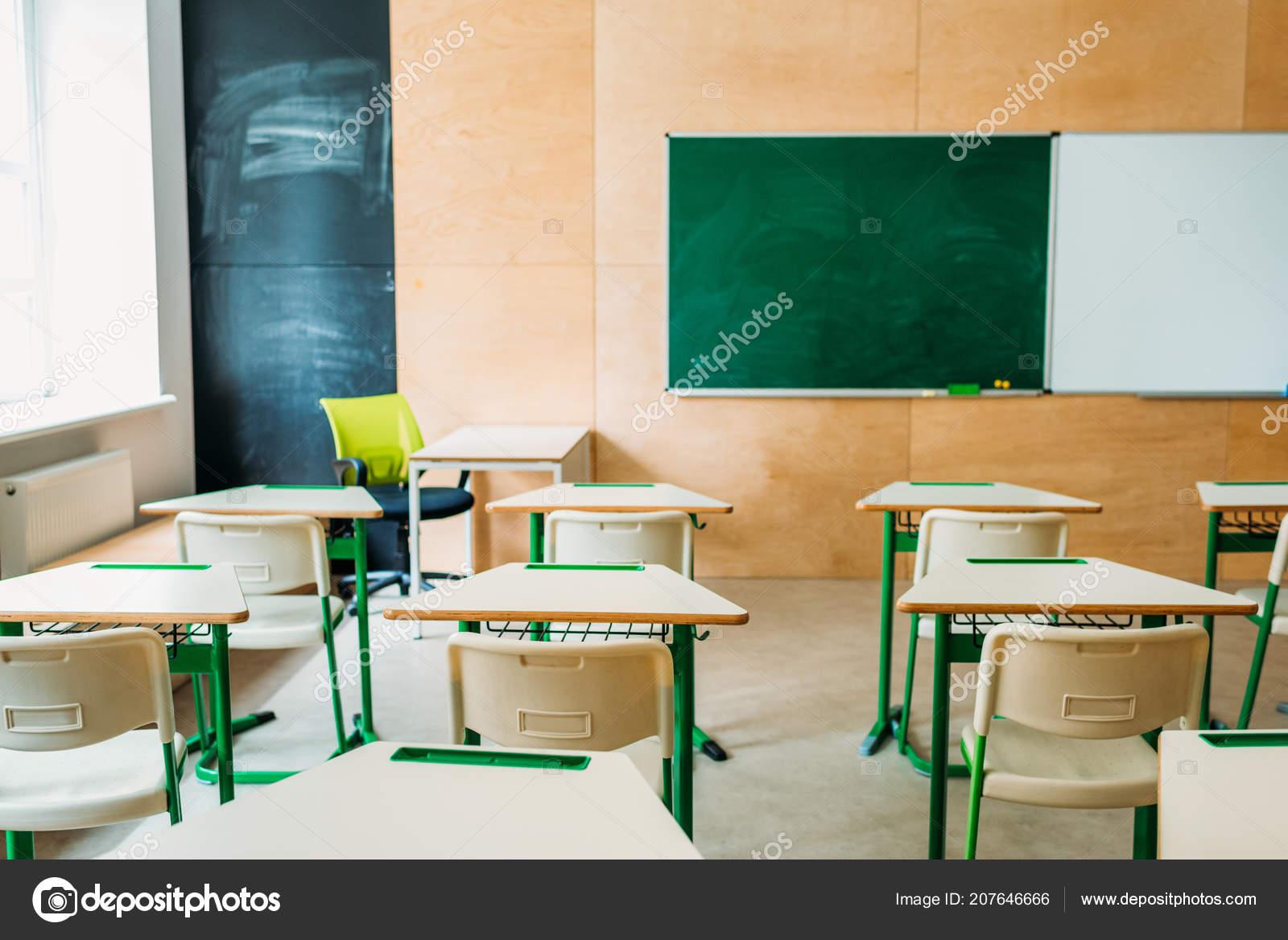interior empty modern classroom blank chalkboard school stock