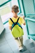 nézet hátulról az iskolás a megy földszinti folyosó iskolai hátizsák