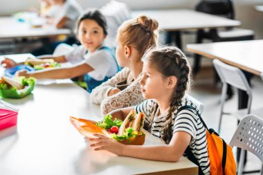 group of schoolgirls taking lunch at school cafeteria together