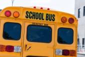 zadní pohled na tradiční školní autobus s nápisem nad zadními dveřmi