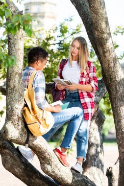 teen students couple relaxing on tree chatting after school