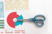 Fotografie Top view of scissors and colorful business chart at workplace