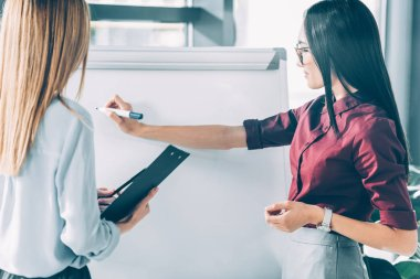 businesswomen in formal wear writing on whiteboard