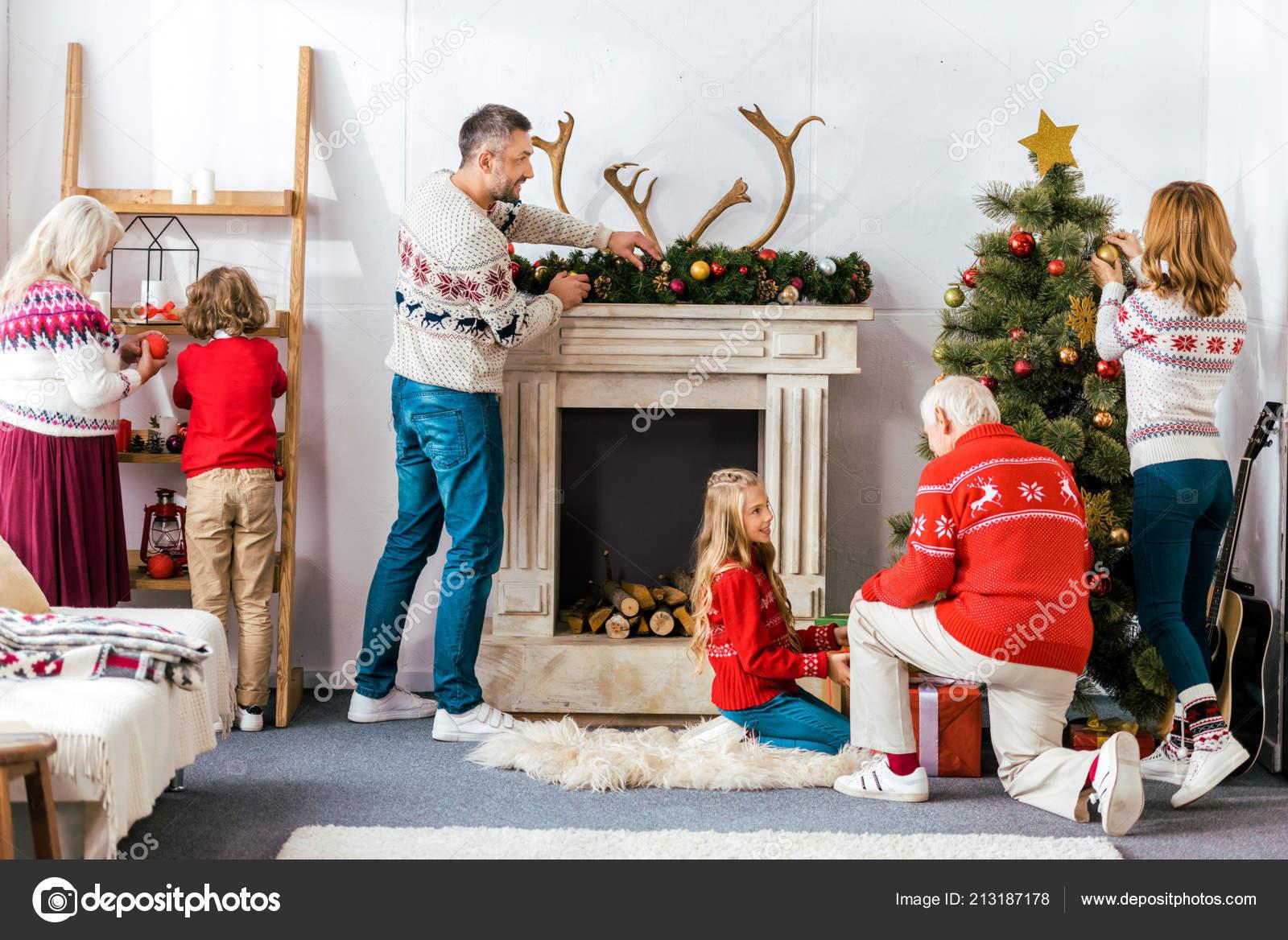 Big Family Decorating Living Room Christmas Together Stock