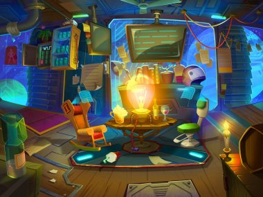 Drawing Room for Space Rangers in the Space with Fantastic, Realistic and Futuristic Style. Video Game's Digital CG Artwork, Concept Illustration, Realistic Cartoon Style Scene Design