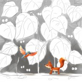 Fotografie Fox a pták. Potkat někoho v seriálu cestování. Video hry digitální Cg kresby, ilustrace koncept, realistické kreslený styl znaků Design