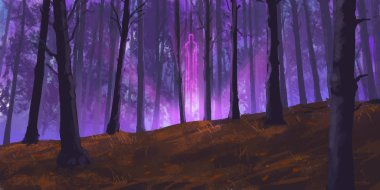 Fairy Forest. SpitPaint. Concept Art. Fast Drawings. Sketch Paint. Realistic Style. Video Game Digital CG Artwork, Concept Illustration, Realistic Cartoon Style Scene Design