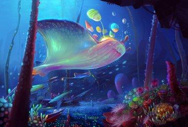 unreal magic world illustration as background