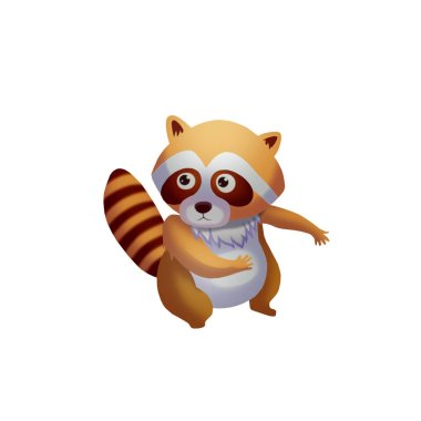 Illustration: The Cute Raccoon Friend. Cartoon Style