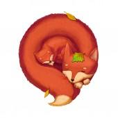 Fotografie Kunstwerk: die schlafende Fuchsmutter mit Kind in den fallenden Blättern. realistische fantastische Cartoon-Stil Szene, Tapete, Hintergrund, Charakter-Design. Illustration