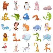 roztomilá ilustrace zvířat nastavených na bílém pozadí
