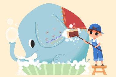 close up view of boy washing elephant illustration