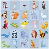 Photo cute illustration of animals set isolated on white background