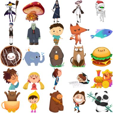 Close up view of childish characters set illustration stock vector