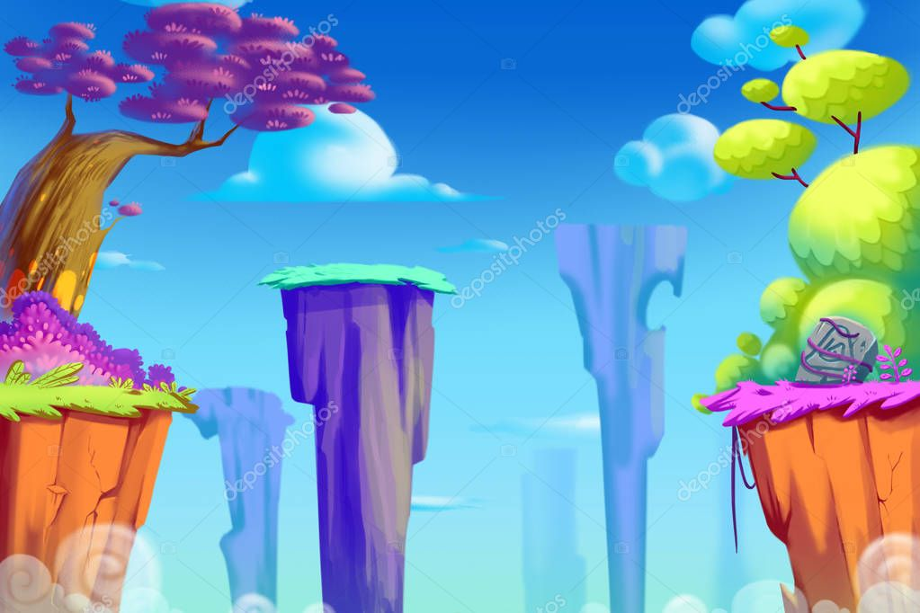 Cliff Valley. Video Games Digital CG Artwork, Concept Illustration, Realistic Cartoon Style Background stock vector