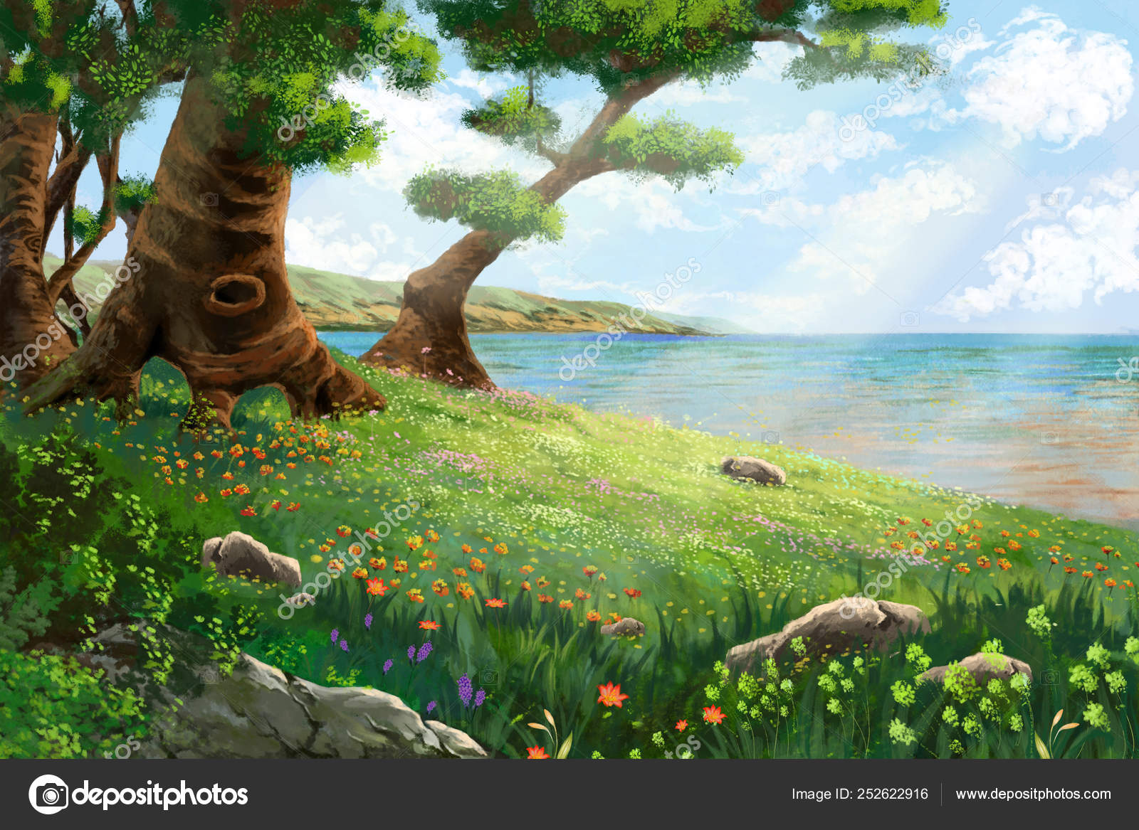 River Bank Flowers Trees Video Games Digital Artwork Concept Illustration Stock Photo C Nextmars 252622916 Learn how to draw a complex cartoon tree using this fun tutorial made using a vector application. river bank flowers trees video games digital artwork concept illustration stock photo c nextmars 252622916