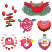 Happy Valentines Day Items and Objects, Love Letter, Love Bird, Love Potion, Flower. Creative Idea, Innovative art, Concept Illustration, Cartoon Style Artwork