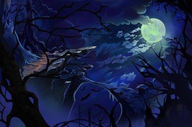 Moon Night. Video Games Digital CG Artwork, Concept Illustration, Realistic Cartoon Style Background
