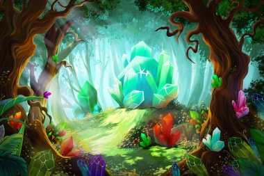 Legend of Diamond and Crystal Forest. Video Games Digital CG Artwork, Concept Illustration, Realistic Cartoon Style Background stock vector