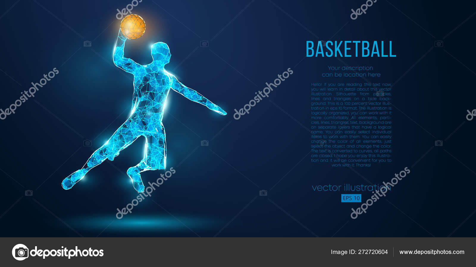 Abstract Basketball Player From Particles Lines And Triangles On